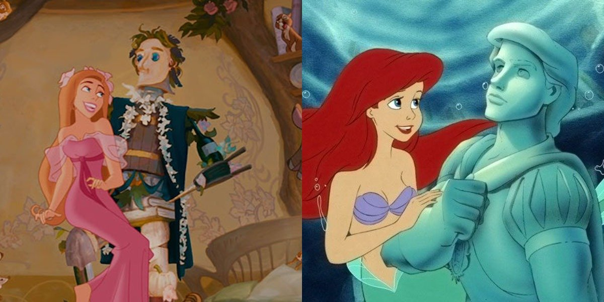 animated Giselle and statue of prince for True Love's Kiss in Enchanted, Little Mermaid part of your world