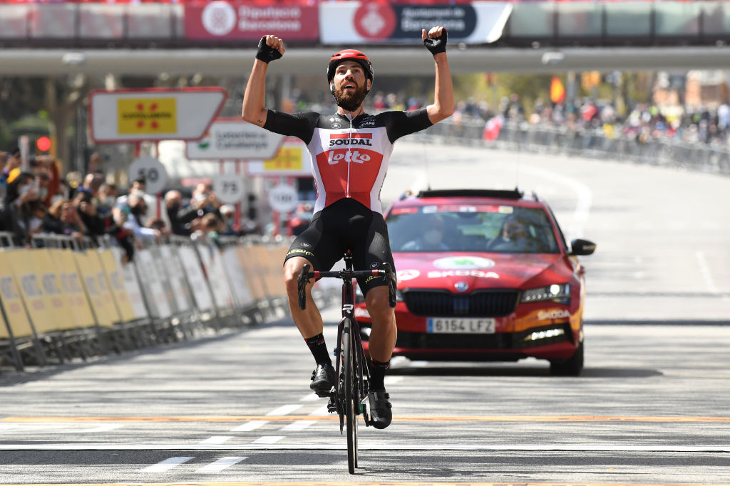 BARCELONA SPAIN MARCH 28 Arrival Thomas De Gendt of Belgium and Team Lotto Soudal Celebration during the 100th Volta Ciclista a Catalunya 2021 Stage 7 a 133km stage from Barcelona to Barcelona VoltaCatalunya100 on March 28 2021 in Barcelona Spain Photo by David RamosGetty Images
