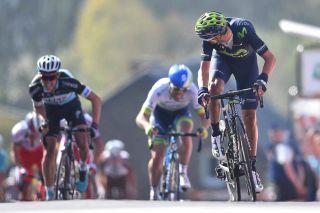 Alejandro Valverde jumps away on the Mur de Huy
