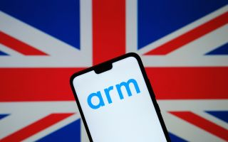 Stock image of the Union Flag and Arm brand