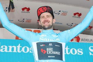 Luke Durbridge (Team BikeExchange) in the overall leader jersey of the Santos Festival of Cycling after stage 3