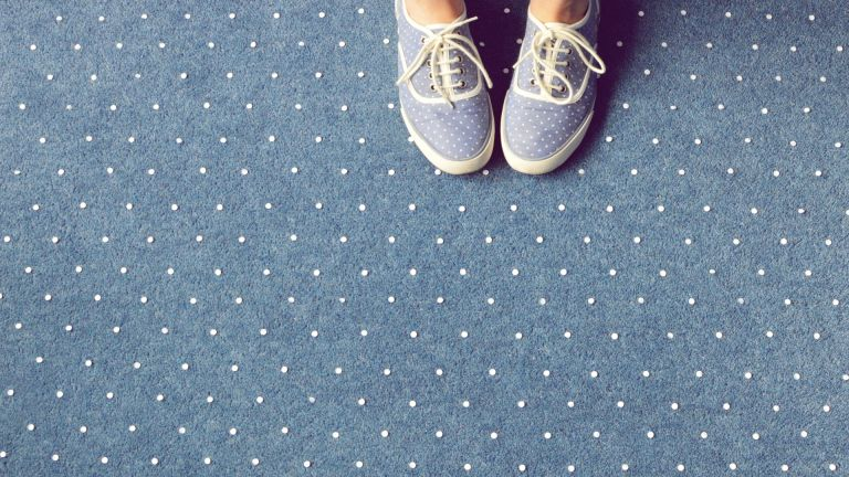 Blue spotty carpet with blue spotty shoes