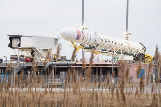 The Northrop Grumman Antares rocket carrying the Cygnus NG-13 spacecraft is lowered into horizontal position at its Mid-Atlantic Regional Spaceport launch site at NASA's Wallops Flight Facility in Wallops Island, Virginia on Feb. 12, 2020. Antares is scheduled to launch Cygnus on a NASA cargo mission on Feb. 14.