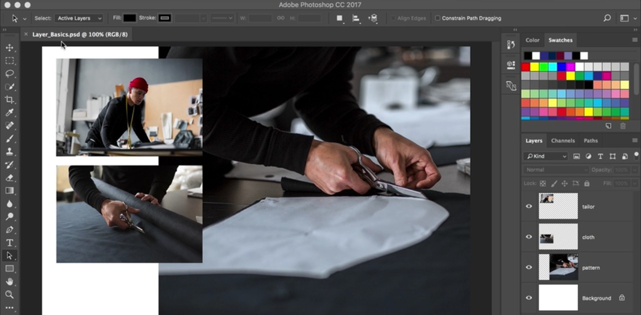 Photoshop tutorials: interface featuring multiple photos