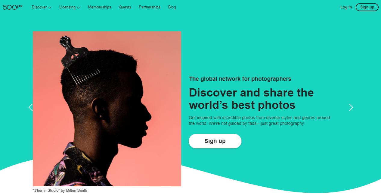 Photography websites: 500px
