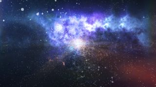 An artist's impression of dark matter in the beginning of the universe.