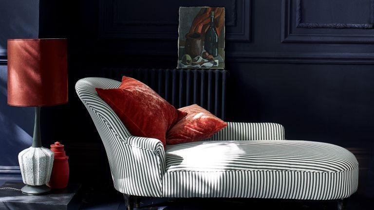 Dark blue painted room by Annie Sloan