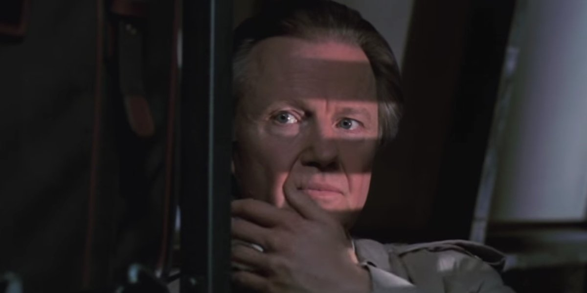 Jon Voight as Jim Phelps, about to reveal he is really Tom Cruise as Ethan Hunt in Mission: Impossib