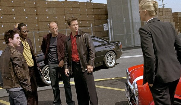 The Italian Job Seth Green Jason Statham Mark Wahlberg meet Charlize Theron at the docks