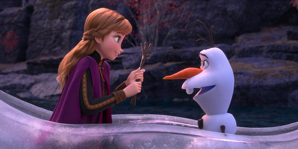 Anna and Olaf in a boat in Frozen II