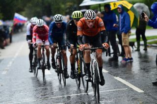 The Netherlands' Mathieu van der Poel leads what would be the winning breakaway duding the elite men's road race at the 2019 World Championships in Yorkshire, in the UK, but would later fade to finish more than 10 minutes down on winner Mads Pedersen of Denmark
