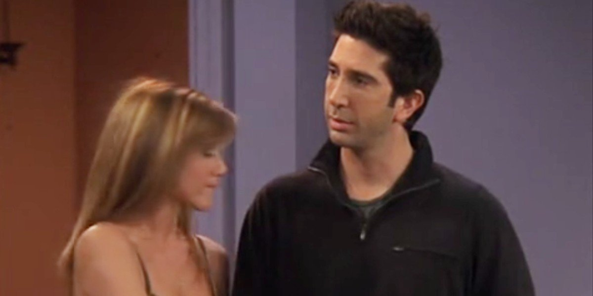 "David Schwimmer and Jennifer Aniston in Friends episode ""The Last One."""