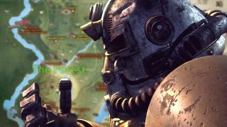 An image illustration of a power-armored individual standing before the fanmade Fallout 76 map.