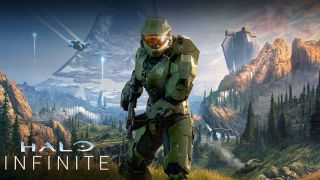Master Chief in Halo Infinite. He is holding a gun and there is an alien plane in the sky.