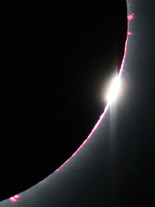 A close-up view of the total solar eclipse diamond ring effect on July 11, 2010.