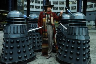 Doctor Who Tom Baker with daleks