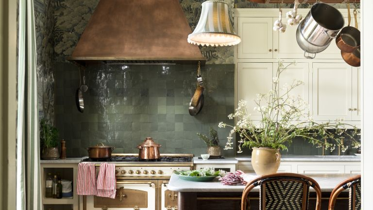 House of Hackney's kitchen with green tiles and marble work space