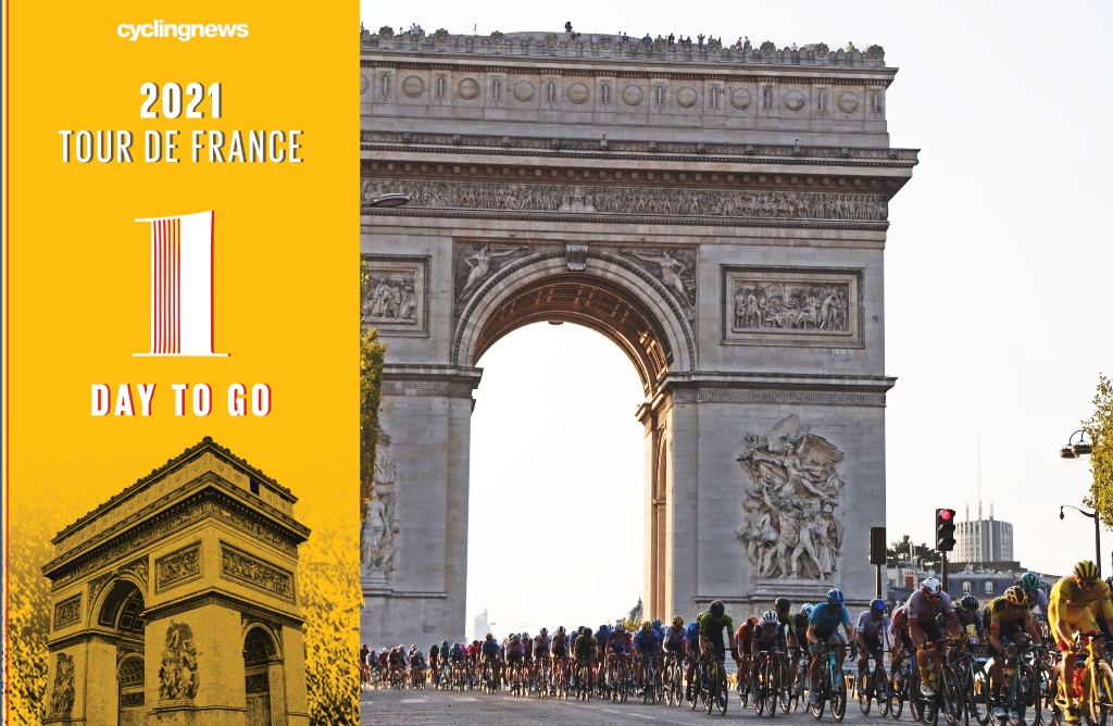 TOPSHOT - The pack rides on the Champs Elysees avenue with the Arc de Triomphe in the background during the 21st and last stage of the 107th edition of the Tour de France cycling race, 122 km between Mantes-la-Jolie and Champs Elysees Paris, on September 20, 2020. (Photo by Kenzo Tribouillard / AFP) (Photo by KENZO TRIBOUILLARD/AFP via Getty Images)