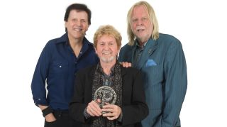 Anderson, Rabin and Wakeman pose with the Prog God Award