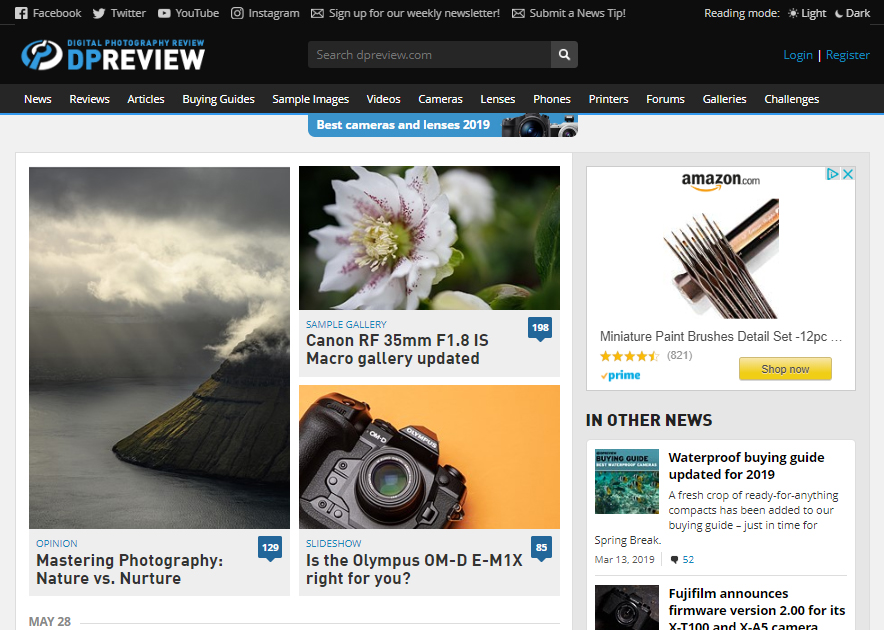 Photography websites: Digital Photography Review