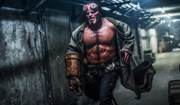 Hellboy running down the hallway