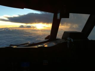 The sunrise west of (then) Hurricane Leslie this morning (Sept. 7, 2012) as seen from NOAA's P-3 Orion aircraft.