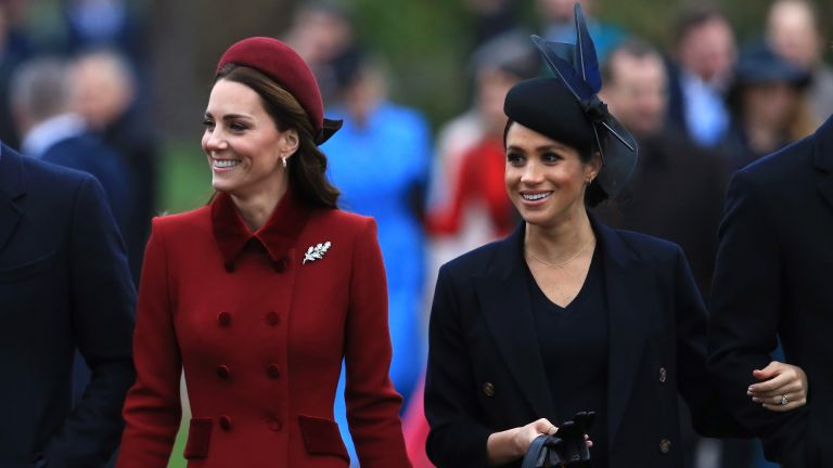 Catherine, Duchess of Cambridge and Duchess Meghan of Sussex arrive to attend Christmas Day Church service at Church of St Mary Magdalene on the Sandringham estate on December 25, 2018 in King's Lynn, England
