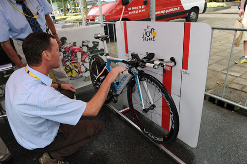 UCI check bikes before prologue, Andy Jones at the Tour de France 2010