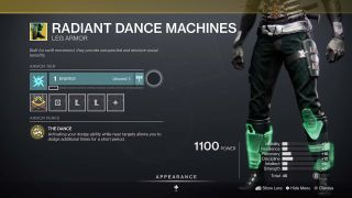Destiny 2 Radiant Dance Machines Hunter Exotic boots inspect