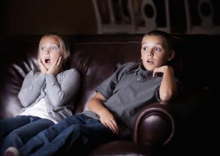 Children watching scary movie