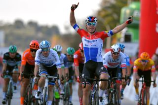 LAGOS PORTUGAL FEBRUARY 19 Arrival Fabio Jakobsen of The Netherlands and Team Deceuninck Quick Step Celebration Elia Viviani of Italy and Team Cofidis Matteo Trentin of Italy and CCC Team Alexander Kristoff of Norway and UAETeam Emirates during the 46th Volta ao Algarve 2020 Stage 1 a 1956km stage from Portimo to Lagos VAlgarve2020 on February 19 2020 in Lagos Portugal Photo by Tim de WaeleGetty Images