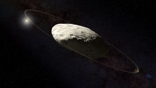 An artist's impression of the dwarf planet Haumea and its ring by citizen scientist Kevin Gill, based on measurements by J.L. Ortiz et al.