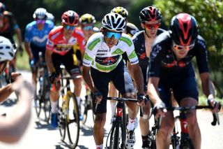 MOS SPAIN SEPTEMBER 04 Egan Arley Bernal Gomez of Colombia and Team INEOS Grenadiers white best young jersey competes during the 76th Tour of Spain 2021 Stage 20 a 2022km km stage from Sanxenxo to Mos Alto Castro de Herville 502m lavuelta LaVuelta21 on September 04 2021 in Mos Spain Photo by Tim de WaeleGetty Images