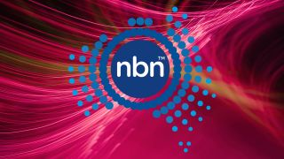 NBN logo on red fibre optic background