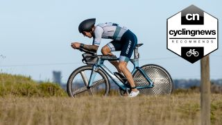 Tim Van Berkel riding a Giant Trinity fitted with the best triathlon wheels during IronMan Geelong 70.3