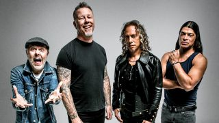 A photograph of Metallica messing about in a photo studio, 2016