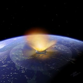 Artist's impression of a 6-mile-wide asteroid— the size of the dinosaur-killing object — striking the Earth.