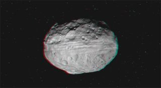 A 3-D video of the asteroid Vesta incorporates high-resolution images taken by NASA's Dawn spacecraft from July to August 2011. The images were obtained as Dawn approached Vesta and circled the giant asteroid during the mission's survey orbit phase.