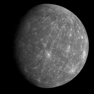 This view is one of the first from the MESSENGER probe's Oct. 6, 2008 flyby of Mercury.