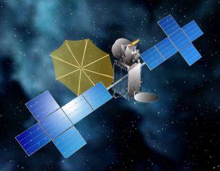 An artist's illustration of the Sirius XM-7 satellite in orbit.