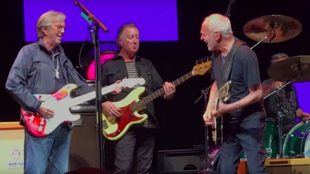 Watch Eric Clapton and Peter Frampton's explosive While My Guitar Gently Weeps at the Crossroads Festival