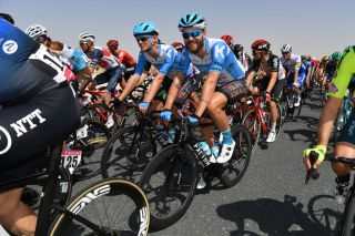 JEBEL HAFEET UNITED ARAB EMIRATES FEBRUARY 25 Alexander Cataford of Canada and Team Israel StartUp Nation Rick Zabel of Germany and Team Israel StartUp Nation Peloton during the 6th UAE Tour 2020 Stage 3 a 184km stage from Al Qudra Cycle Track to Jebel Hafeet 1032m UCIWT UAETour on February 25 2020 in Jebel Hafeet United Arab Emirates Photo by Justin SetterfieldGetty Images