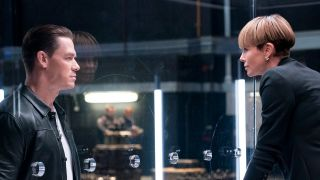 John Cena as Jakob looking in on Charlize Theron as Cipher who is trapped in box in F9