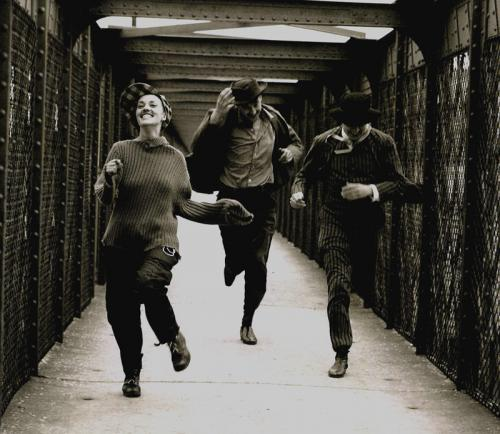 Jules et Jim - Jeanne Moreau, Henri Serre and Oskar Werner in high spirits in François Truffaut's classic film. Copyright Raymond Cauchetier, courtesy James Hyman Gallery.