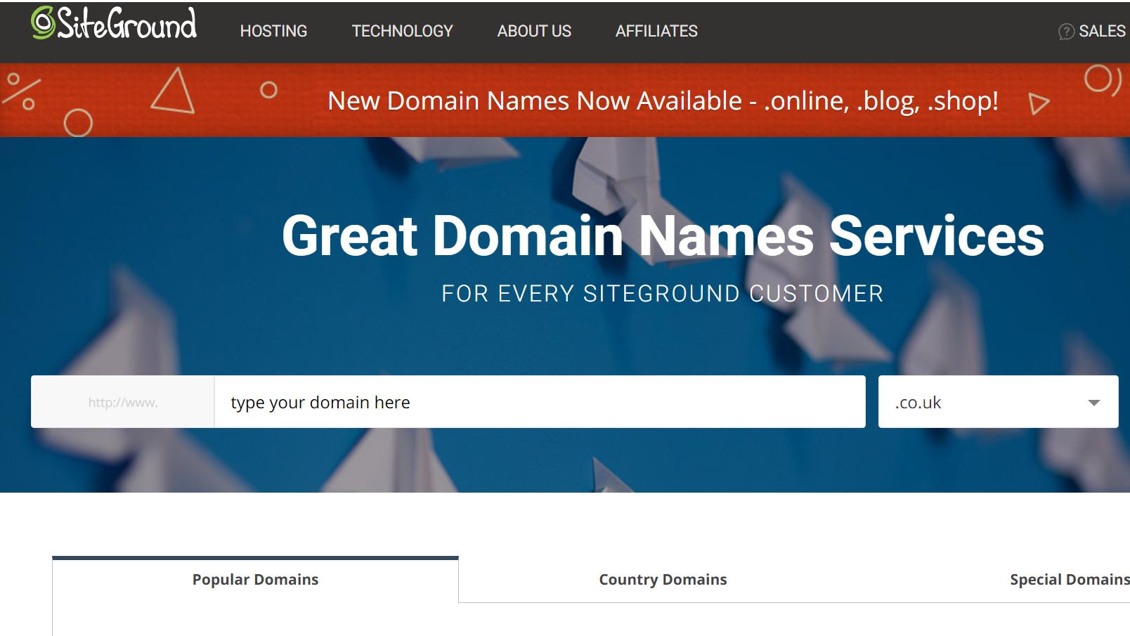 SiteGround domains