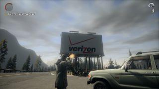 A verizon roadside billboard in the video game Alan Wake. Alan Wake is shooting the billboard.