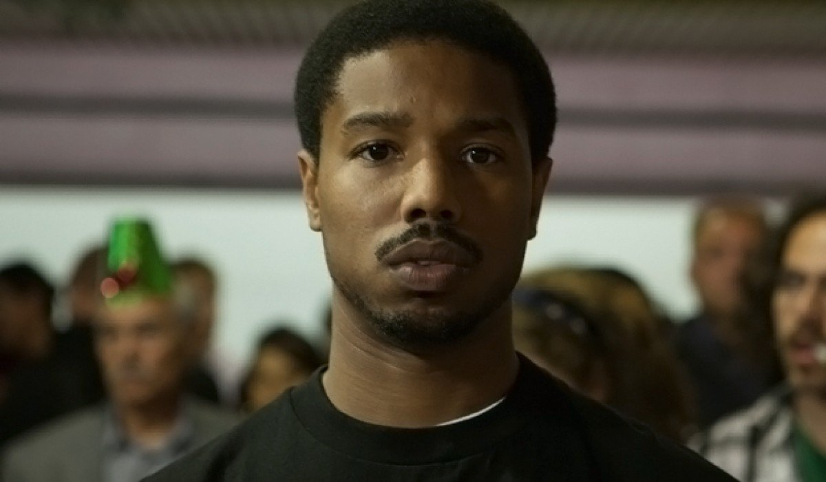 Fruitvale Station Michael B. Jordan looking worried on the platform