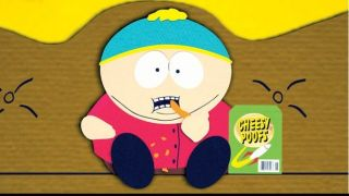 Cartman eating Cheesy Poofs