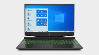 Photo of HP Pavilion laptop with green-lit keyboard and Windows 10 on display