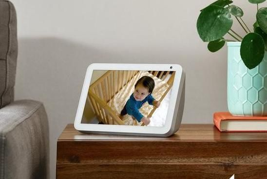 Amazon Echo deals: Echo show 8 on a table showing a baby